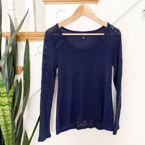 Lucky brand navy blue knit blouse sheer detailing